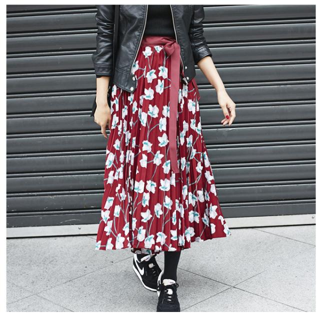 【Flower print pleats skirt】レディース 花柄 プリーツ スカート