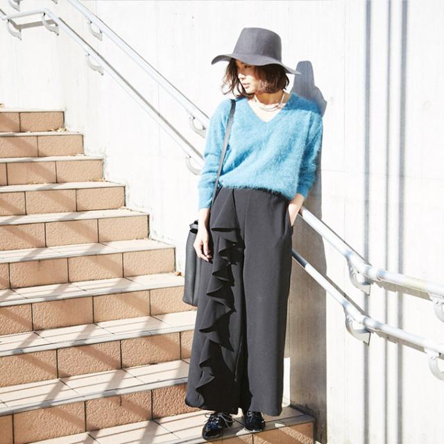 【Asymmetry frill pants】レディース  フリル パンツ
