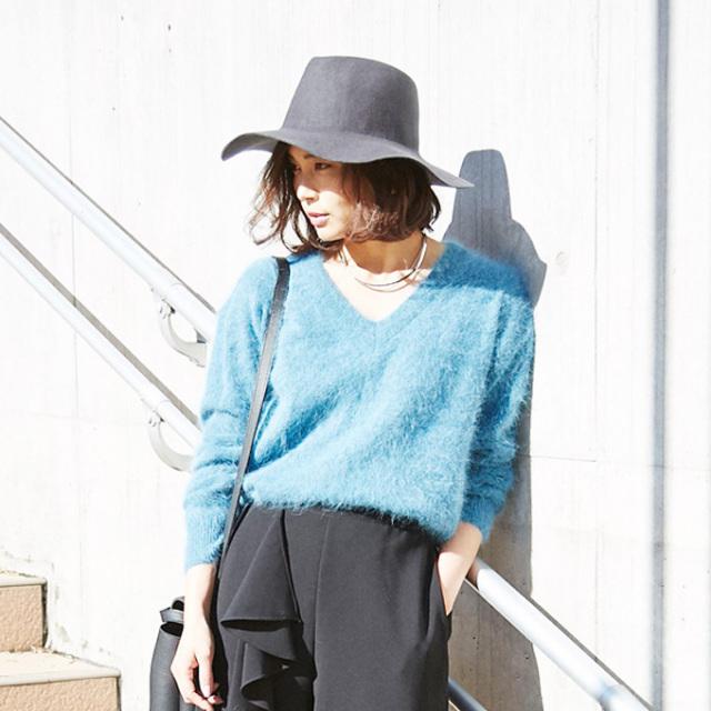 【Angola V neck knit】レディース アンゴラ ニット