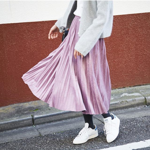 【Fake suede pleats skirt】レディース  プリーツ スカート