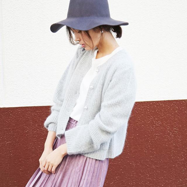 【Angola knit cardigan】レディース アンゴラ カーディガン