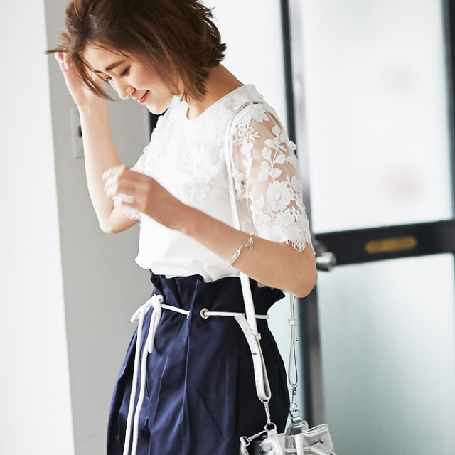 【Lace embroidery tops】レディース レース 刺繍 トップス