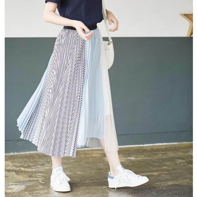 【Color mix pleats skirt】レディース  プリーツ スカート