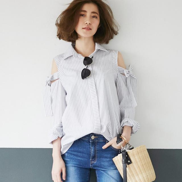 【Cut off shoulder blouse】レディース 肩見せ ブラウス