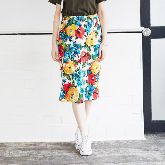 【Flower print tight skirt】レディース  花柄 スカート