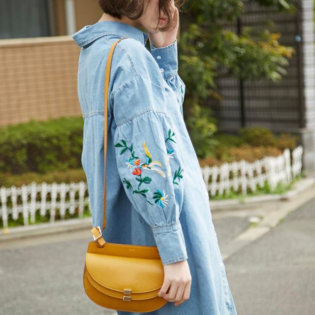【Denim embroidery  one piece】レディース 刺繍 ワンピース
