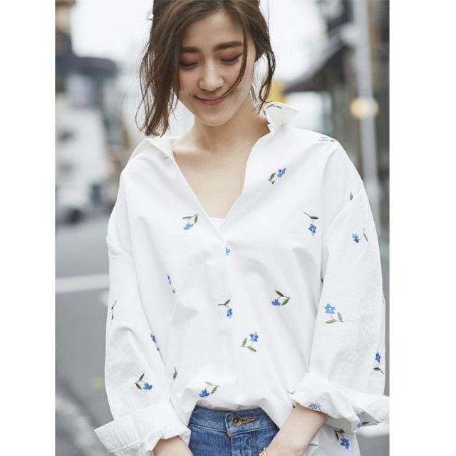 4月21日午前0:00再販【Embroidery shirt】レディース  刺繍 シャツ