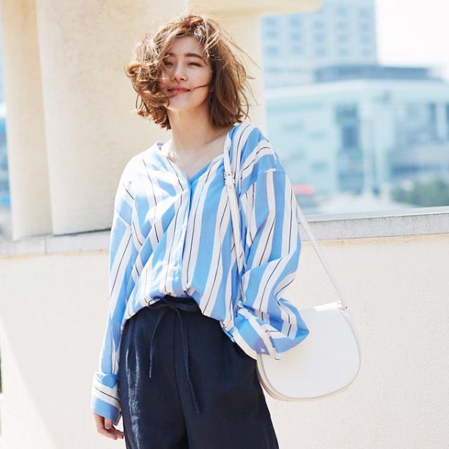 【Stripe V neck blouse】レディース ストライプ ブラウス