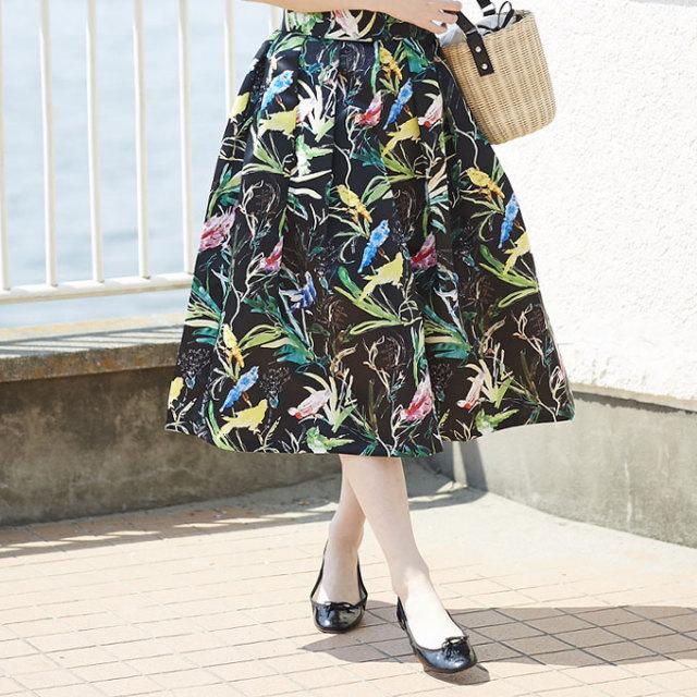 【Bird print flare skirt】レディース  鳥柄 スカート