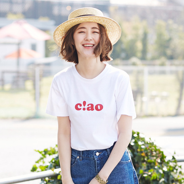 【Logo print T shirt】レディース  ロゴ プリント Tシャツ