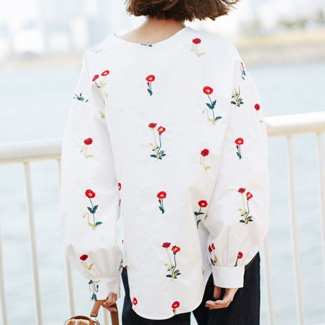 【Flower embroidery 2WAY blouse】レディース 刺繍 ブラウス