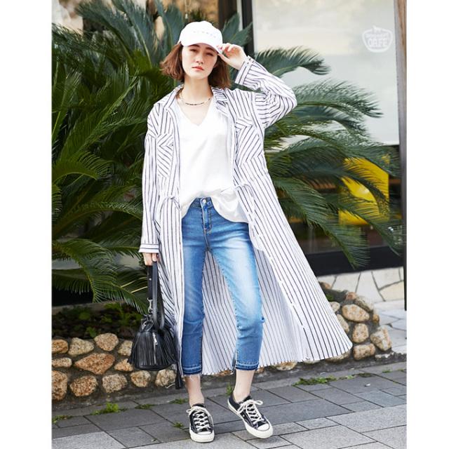 【Stripe long shirt one piece】レディース  ストライプ ロングシャツ ワンピース