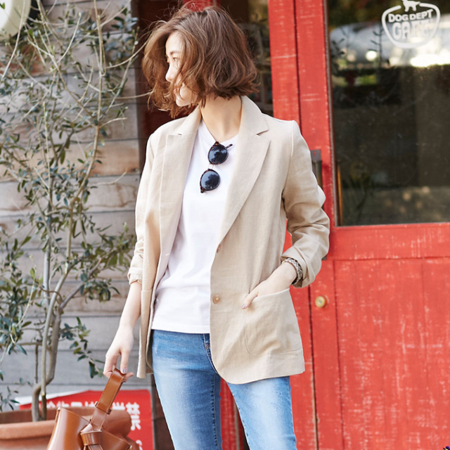 【Linen tailored jacket】レディース  リネン ジャケット