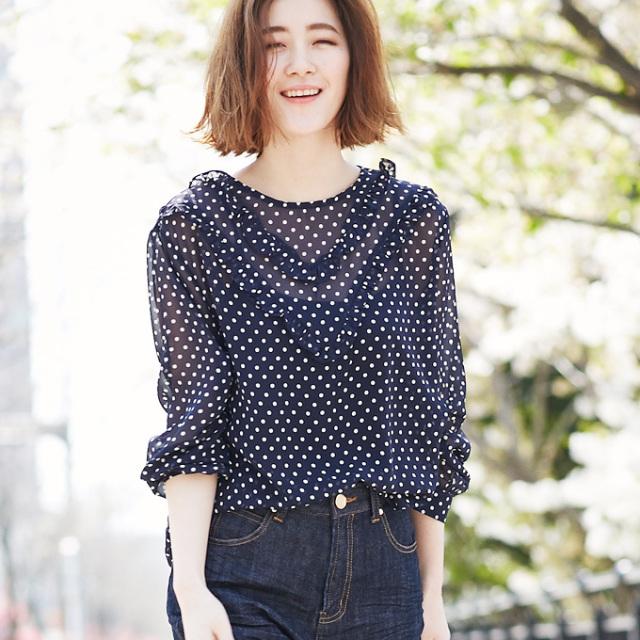 【Dot print  blouse】レディース ドット柄 ブラウス