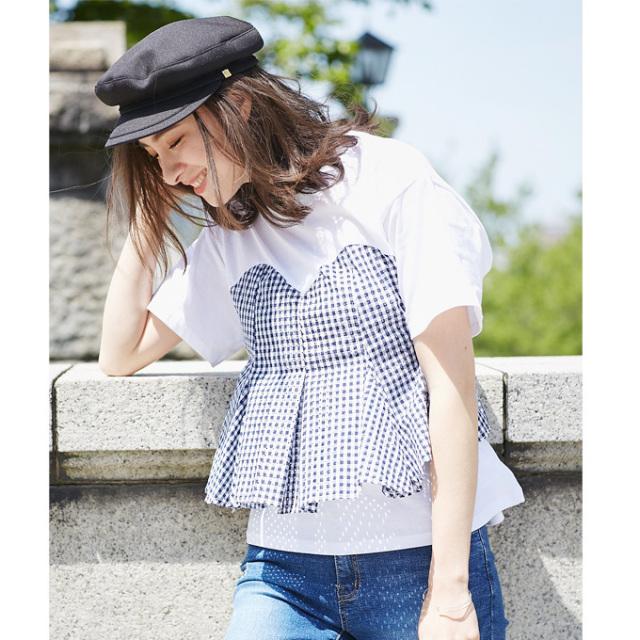 【Bustier design T shirt】レディース  ビスチェ Tシャツ