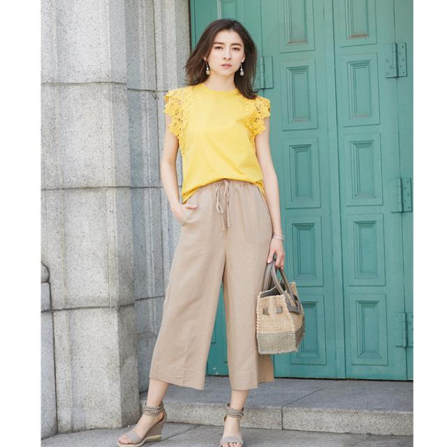 【Linen cropped wide pants】レディース  リネン ワイド パンツ