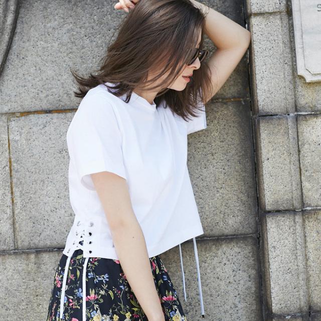 【Side lace up T shirt】レディース  編みあげ Tシャツ