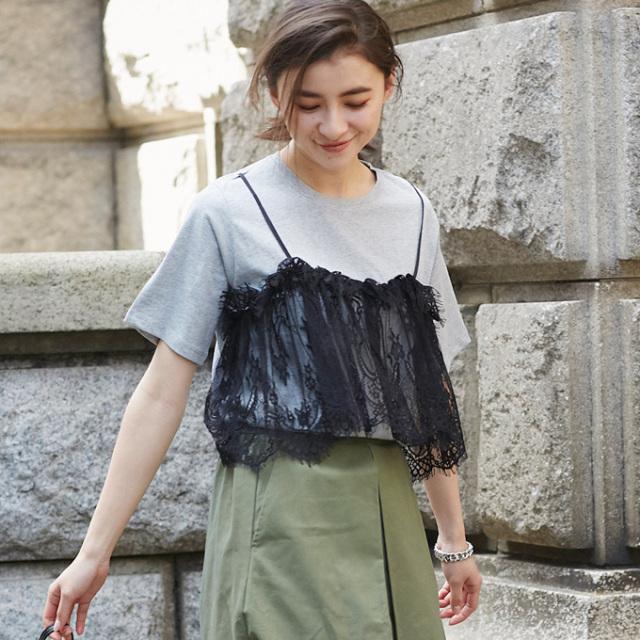 【Lace camisole docking T】レディース  レースキャミ ドッキング Tシャツ