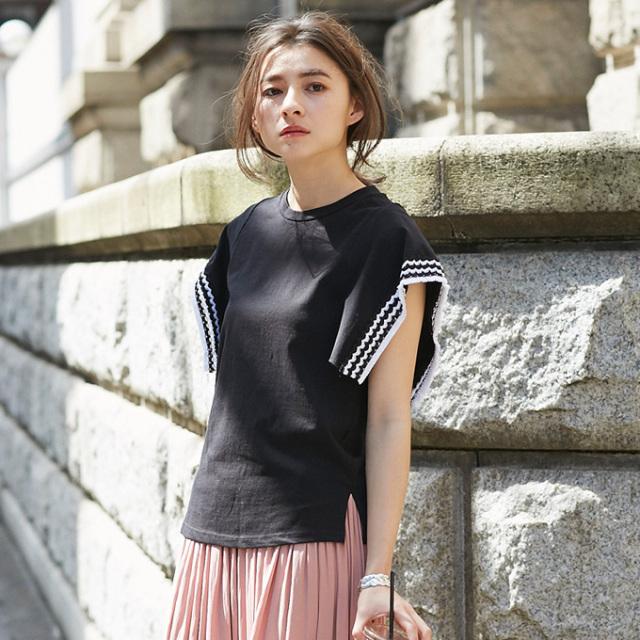 【Stitch sleeve tops】レディース 刺繍 トップス