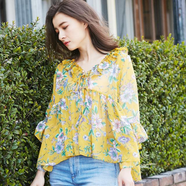 【Flower frill blouse】レディース  花柄 フリル ブラウス