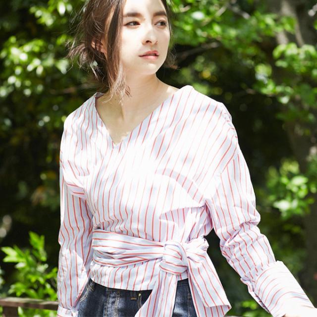 【Stripe cache-cour blouse】レディース  カシュクール ブラウス