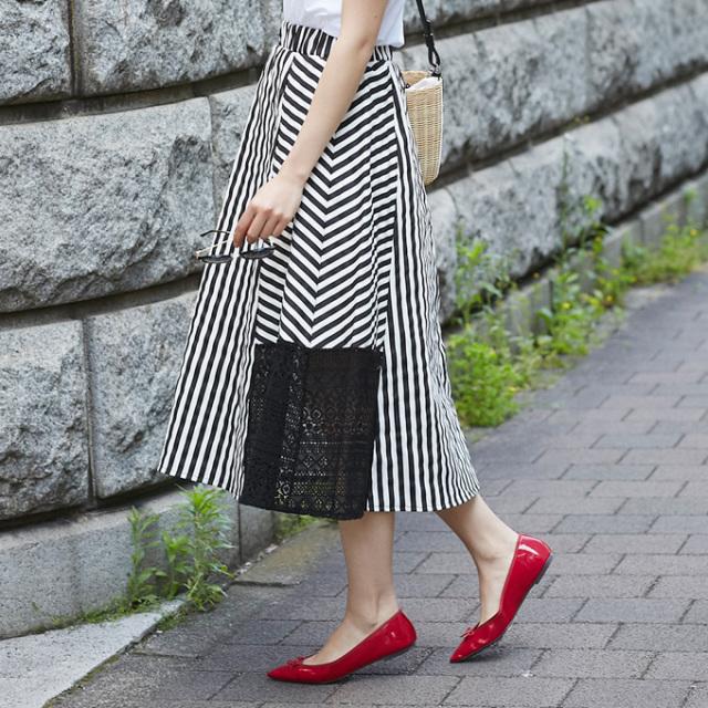 【Lamdom stripe lace skirt】レディース  ストライプ レース スカート