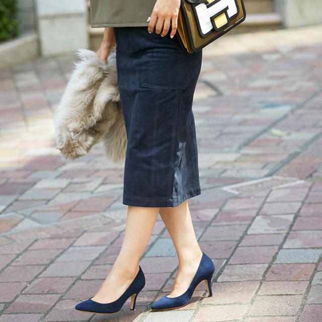 《BAILA3月号掲載》9月25日午前0:00再販!モデルSayakaコラボ Luxe line 【Bonding suede tight skirt】レディース ボンディング スエード スカート