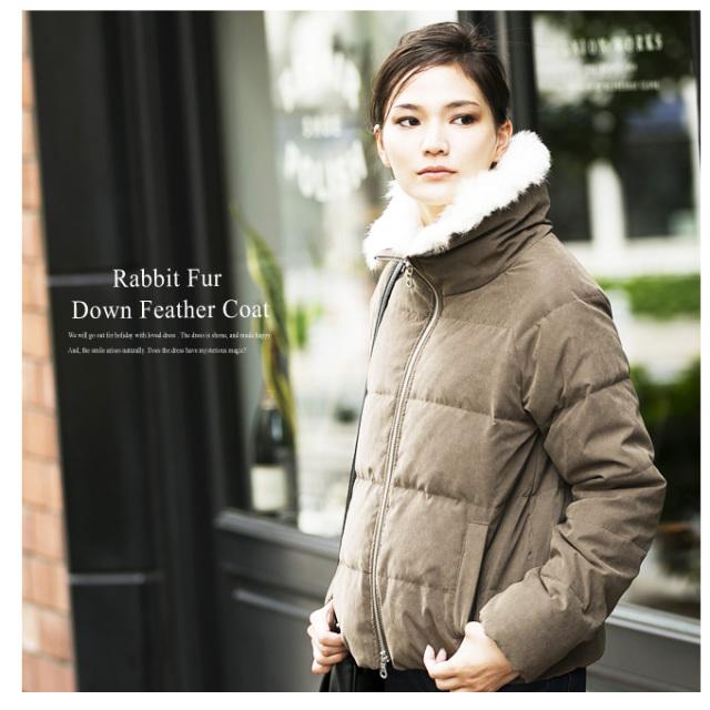 【Rabbit fur down feather coat】レディース ダウン フェザー *SALE品につき返品/交換/注文確定後の変更キャンセル不可*