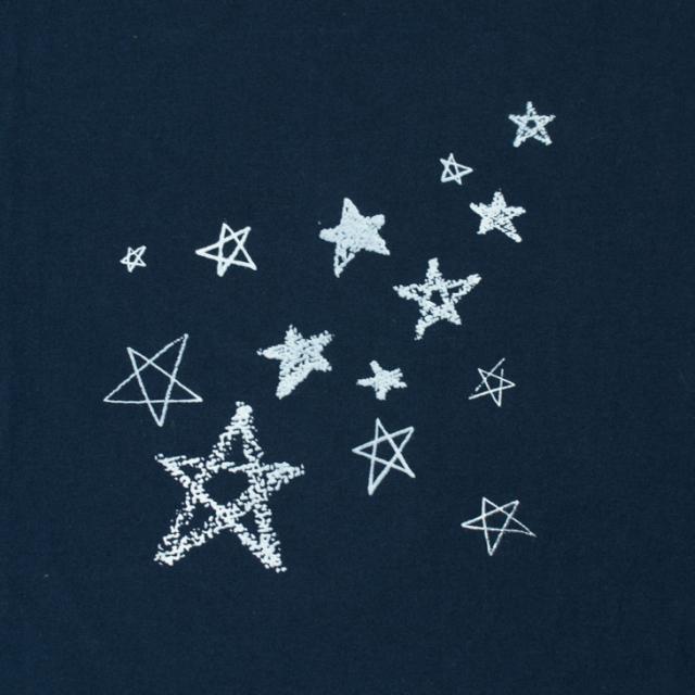 【おまけつき】【アートパネル】クレヨンと色えんぴつの星たち(ベース生地:40/2コットン・天竺ニット)