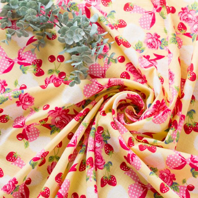 【布帛】コットンドビー・サザンクロス 花とりぼん柄 オーダーカット