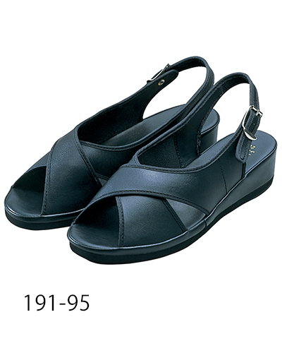 191-95 ナースサンダルクロスタイプ ブラック KAZEN・カゼン