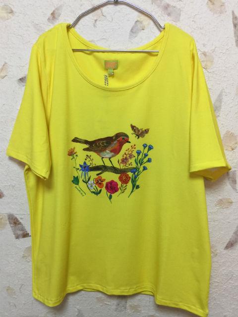 ルームセブンXナタリーレテ【S17GJE035】とりTシャツ(イエロー) 大人サイズ