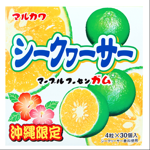沖縄限定 マーブル フーセンガム シークワーサー味 4粒×30個入 4902747300916