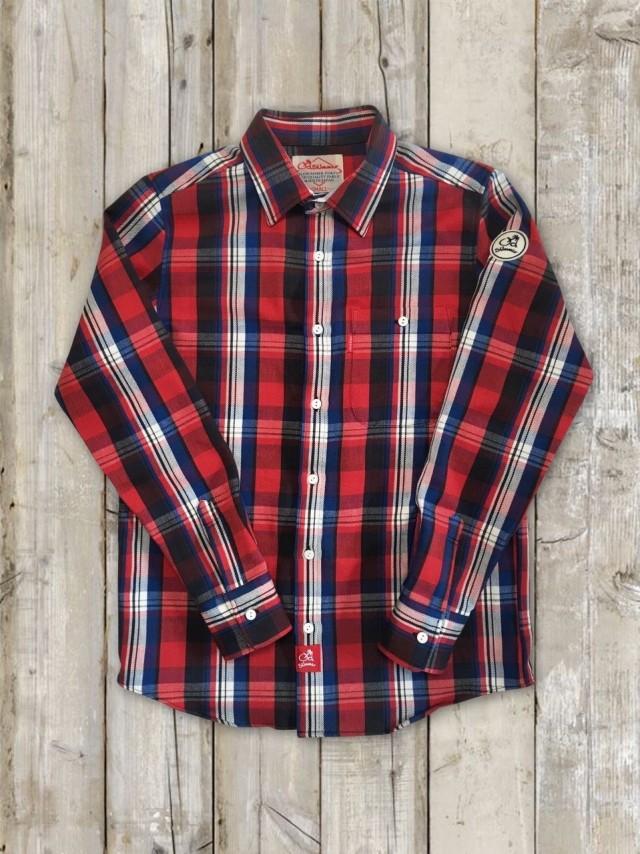 長袖チェックシャツ(赤)