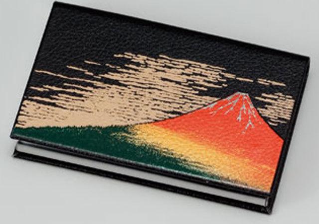 マグネット式蒔絵カードケース赤富士