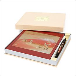 蒔絵 紅富士 ステーショナリー2点セット(マウスパッド・ボールペン)