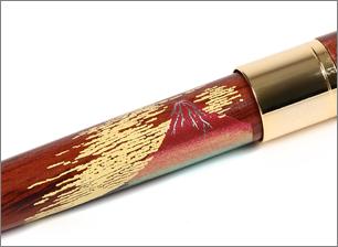 木製(紫檀)蒔絵 赤富士