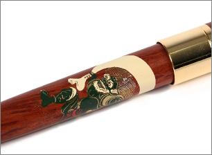 木製(紫檀)蒔絵 風神雷神