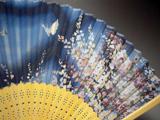 シルク扇子 夜桜★日本のお土産に最適!英語説明書付き