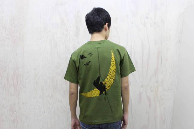 北斎Tシャツ‐月夜の忍者(バック)