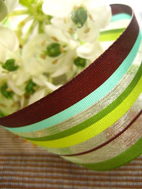 ドイツ製リボン.Sweet Stripeグリーン