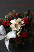 """2012.12.08(sat)フレンチリボンInteriorクラフト名古屋X'mas午前レッスン""""X'masキャンドルリース"""""""
