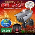 防犯カメラや防犯プレートと併用で効果UP ダミーカメラ 暗視型ソーラーバッテリー付 (OS-173)