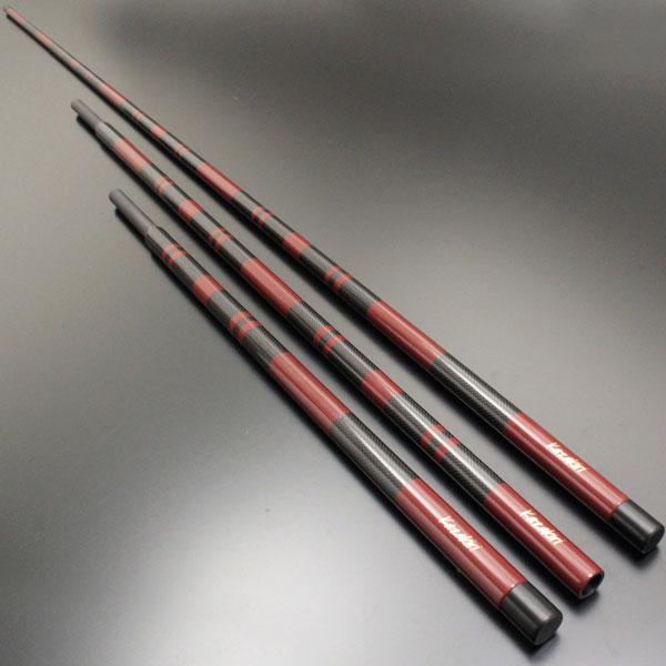 カーボン特有のクロス柄に紅溜の段塗り仕様!へらぶな 風斬(カゼキリ) 竿掛け 2本物 (40078)