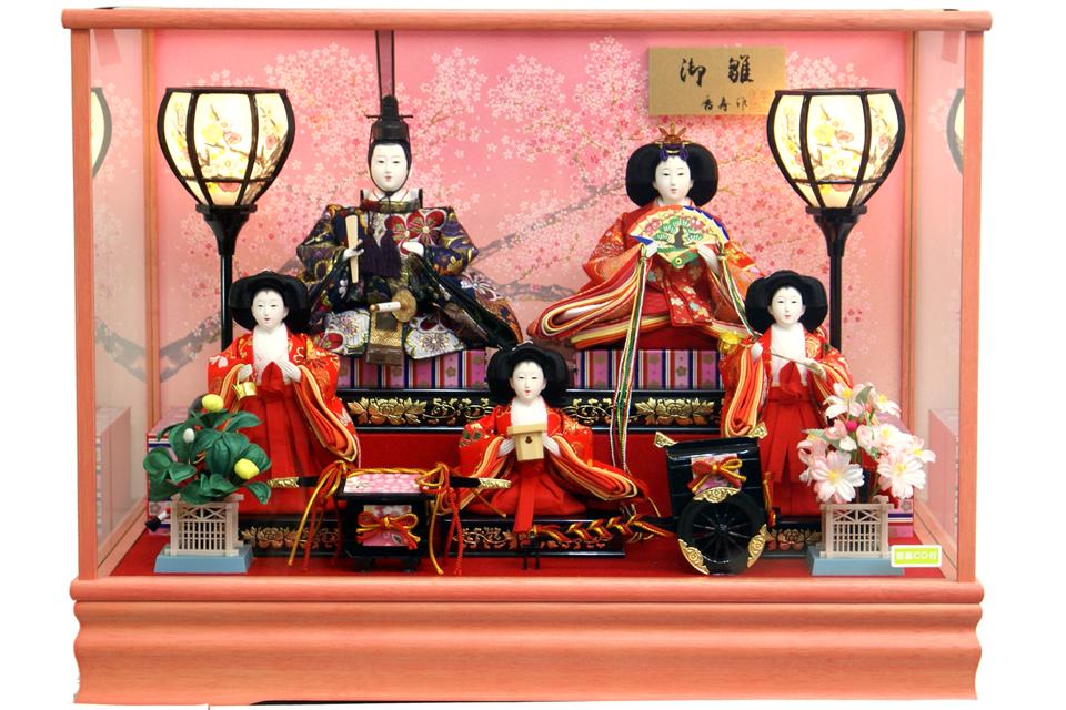 【雛人形】香寿作 三人官女「御雛」 五人ケース飾り(322-263)