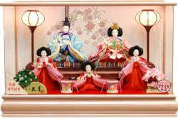 【雛人形】久月作 三人官女「よろこび雛」 五人 アクリルケース飾り (65284)