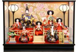 【雛人形】久月作 七人飾り「よろこび雛」 ケース飾り (69786)