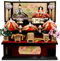 【雛人形】久月作 帯地「よろこび雛」 五人 三段飾り(S-2533)