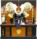 【五月人形】久月作 家紋「黒絲縅兜」 コンパクト収納飾り(1047)