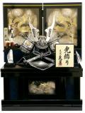 【五月人形】 久月作 「シルバー兜」彫金屏風 前開き収納飾り(1211)